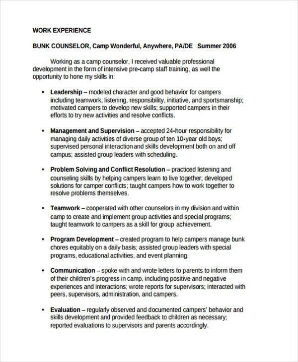 9+ Camp Counselor Resume - Free Sample, Example Format Download ...