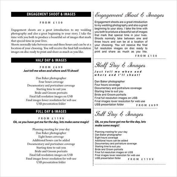 Sample Wedding Price List - 16+ Documents in PDF, Word, PSD