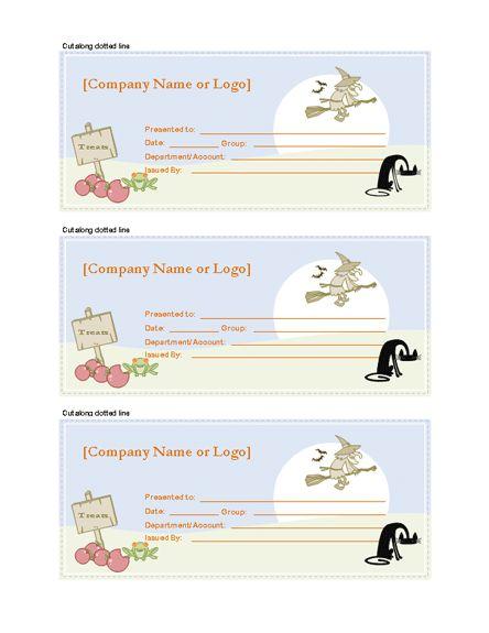 Halloween Gift Certificates – Microsoft Word Template | Gift ...