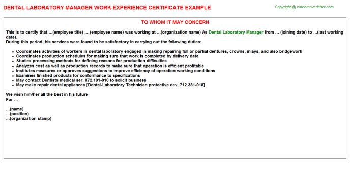 Dental Lab Technician Work Experience Letters