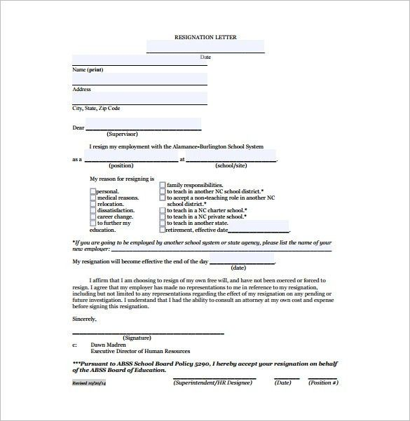 Teacher Resignation Letter Template- 9+ Free Word, Excel, PDF ...