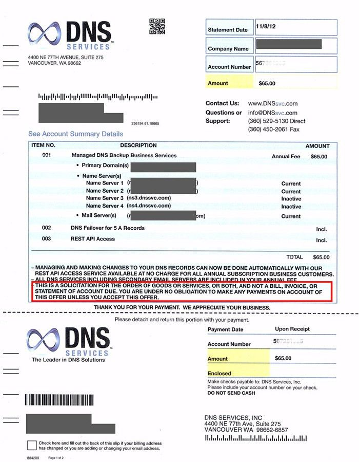 DNS Services Invoice Scam Alert