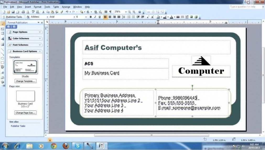 publisher card template