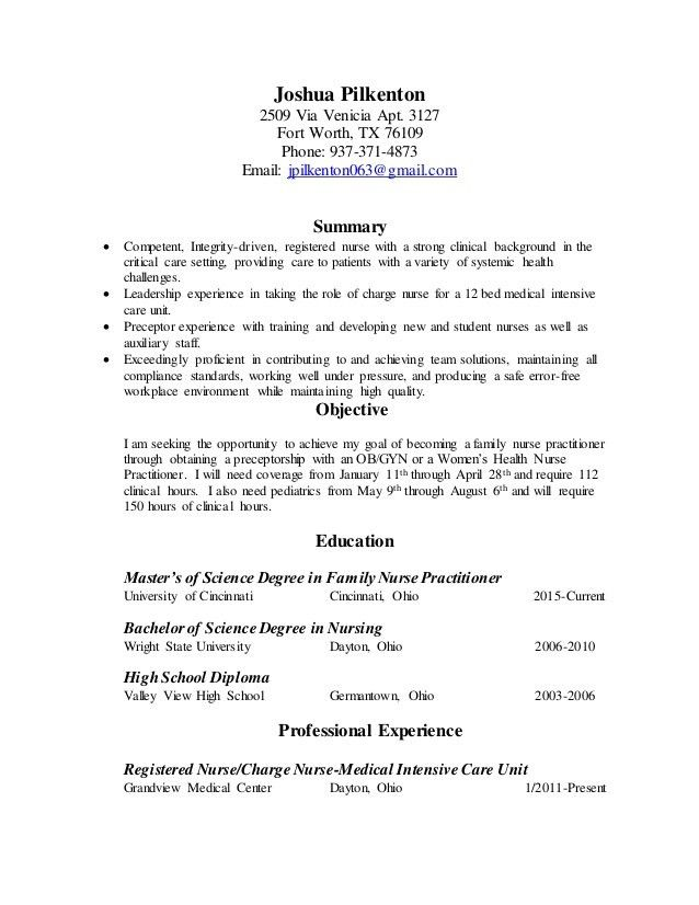 Resume For Graduate School Nurse Practitioner - Contegri.com