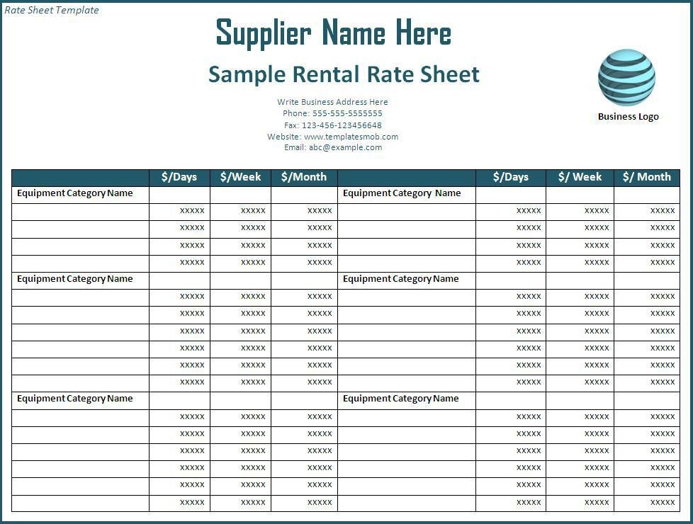 Rate Sheet Template - Word Excel Formats