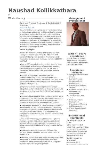 Process Engineer Resume samples - VisualCV resume samples database