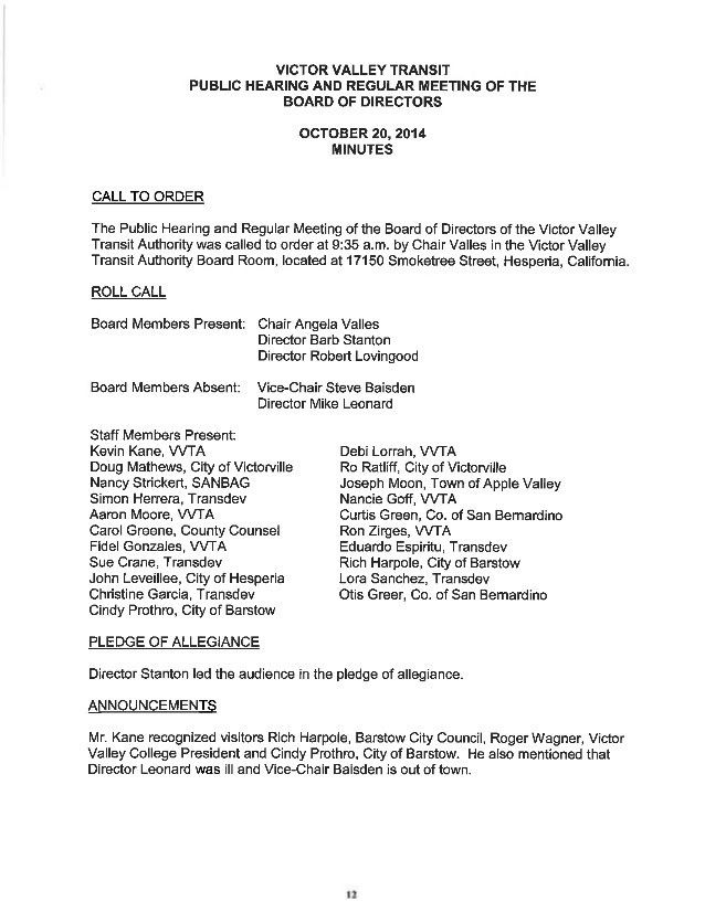 VVTA Board Of Directors Meeting Agenda - November 17, 2014