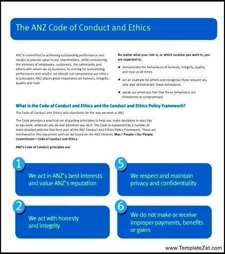 Code of Conduct Example Format | TemplateZet