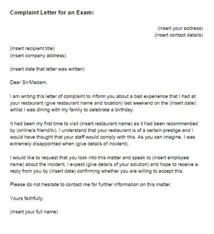 Complaint Letter for an Exam Sample | Just Letter Templates