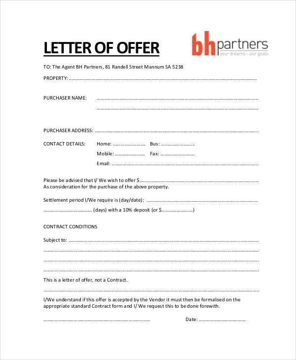 Property Offer Letter Templates - 7+ Free Word, PDF Format ...