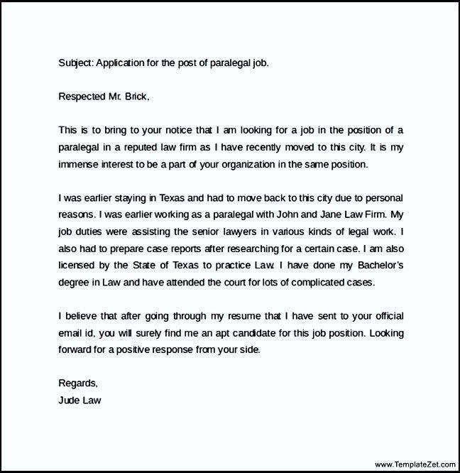 Sample email Cover Letter For Job Application | TemplateZet