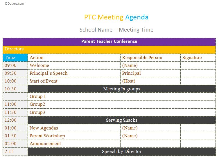 PTC Meeting agenda template - Dotxes
