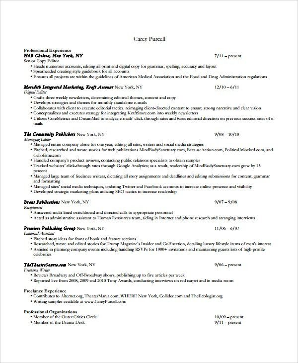 Sample Copy Editor Resume - 7+ Free Documents Download in PDF, Word