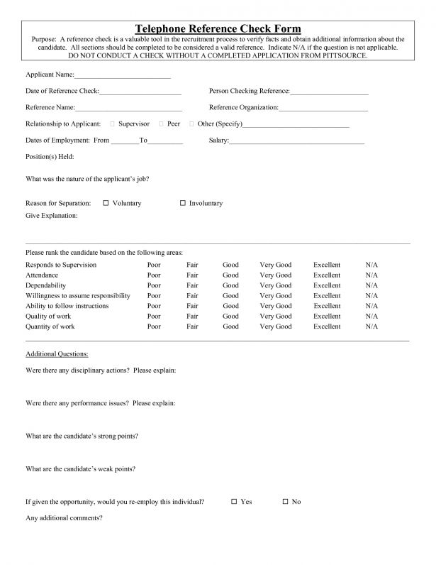 reference check form template