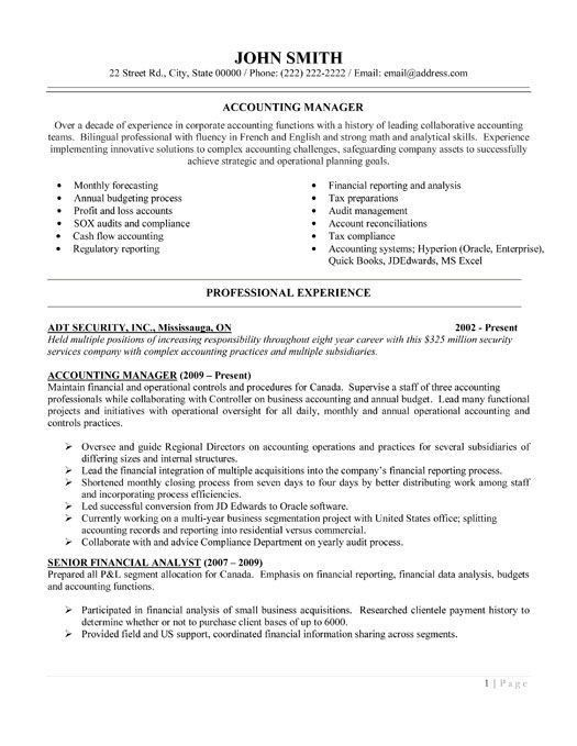 Exclusive Idea Accounting Manager Resume 15 Accounting Manager ...