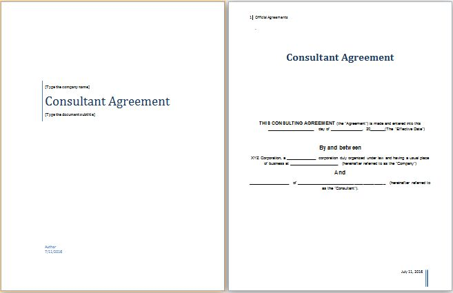 MS Word Consultant Agreement Template | Word Document Templates