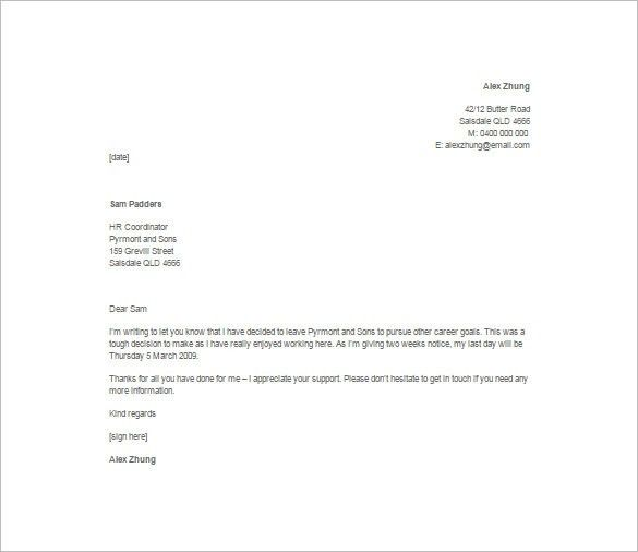 Job Resignation Letters. 2 Weeks Notice Letter | Resignation ...