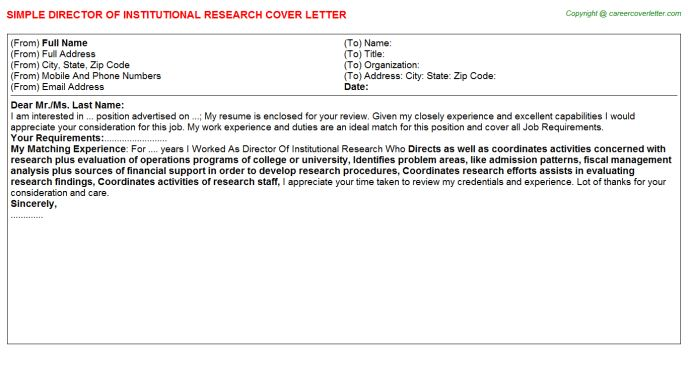 Director Of Institutional Research Cover Letter