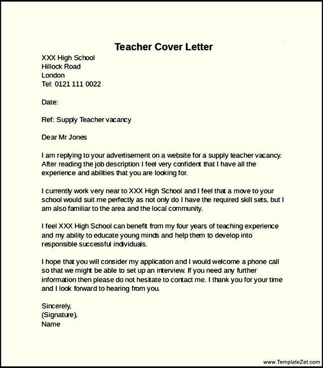 high school teacher cover letters