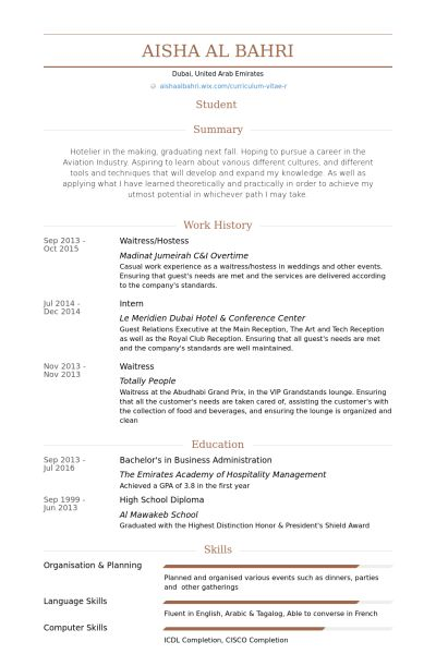 resume examples for waitress free server resume example server