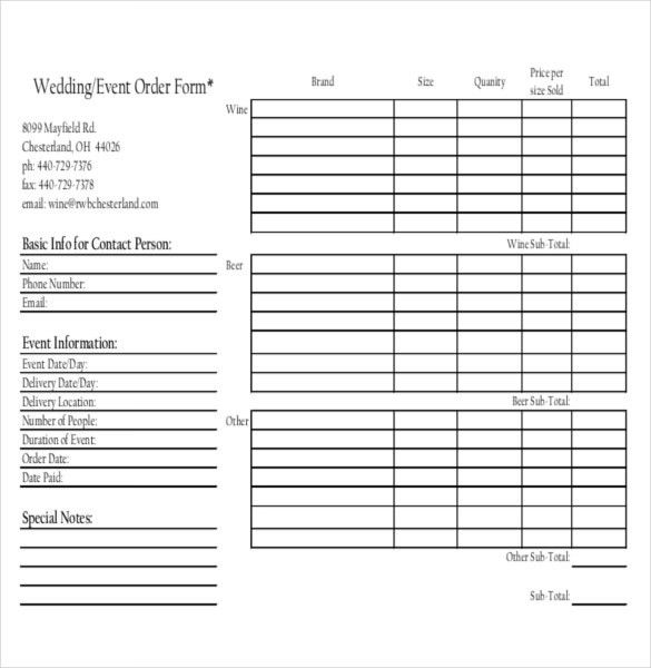 13+ Event Order Templates – Free Sample, Example, Format Download ...