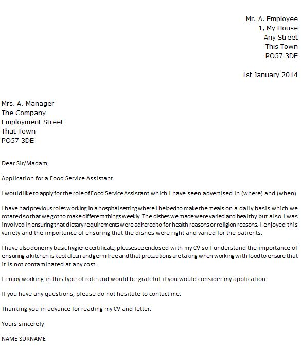 Food Service Assistant Cover Letter Example - icover.org.uk