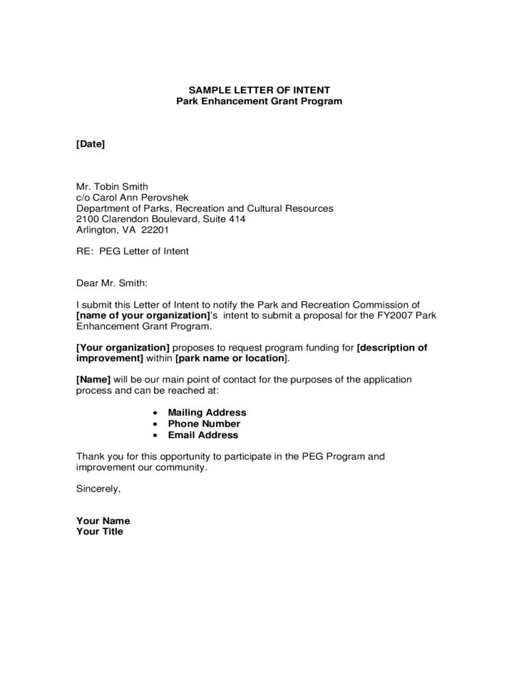 Letter of Intent Format Free Download
