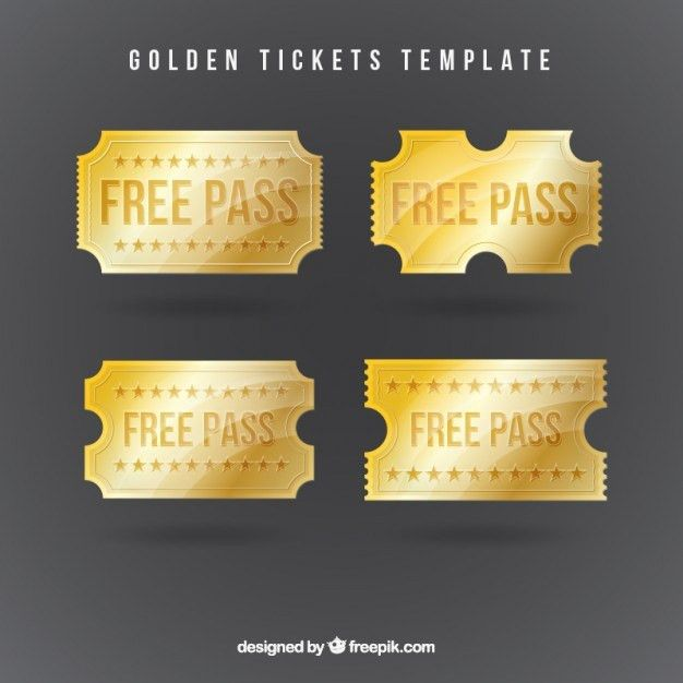 Golden tickets template Vector | Free Download