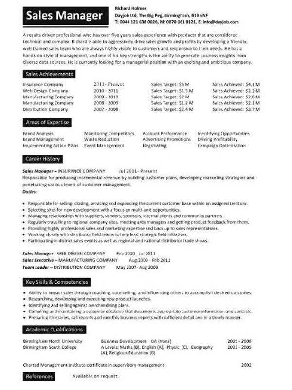 Sales manager resume example •