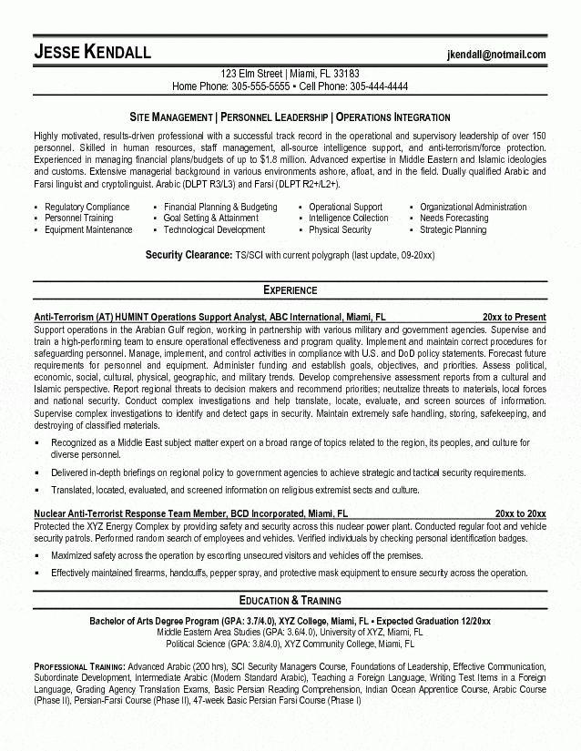 Terrorism Operational Support Resume