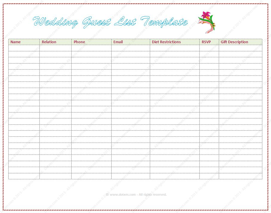 Wedding Guest list Template (Word) - Dotxes