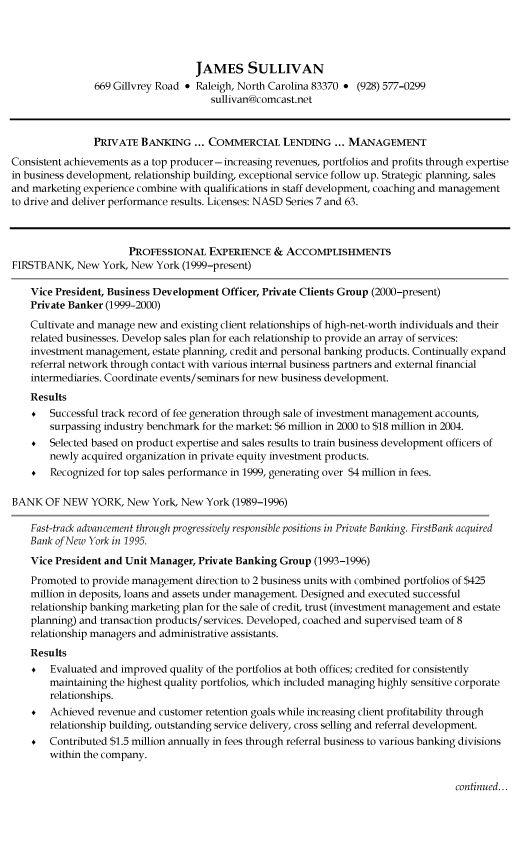 personal banker resume samples templates tips onlineresume ...