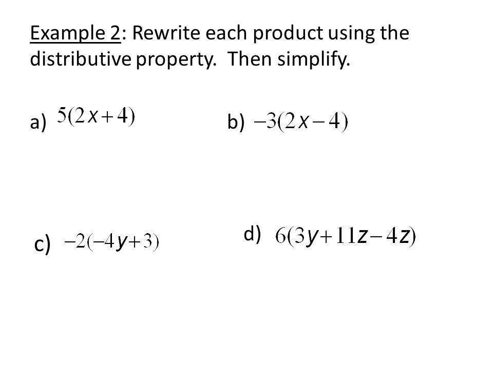 Combining Like Terms and the Distributive Property Objectives ...
