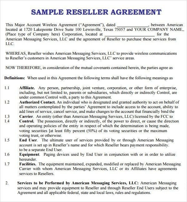 Reseller Agreement Template. Philippines Sales Agreement Sales ...