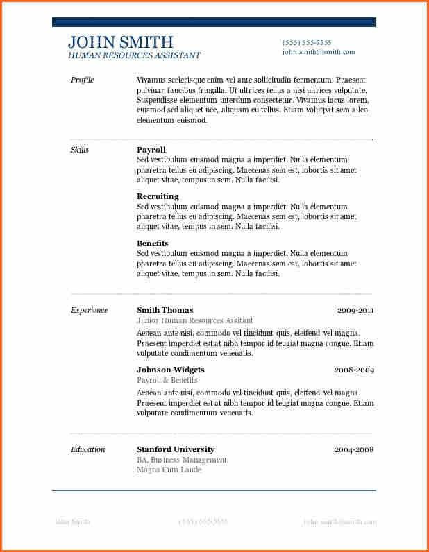 8+ Basic Resume Templates Microsoft Word - Budget Template Letter