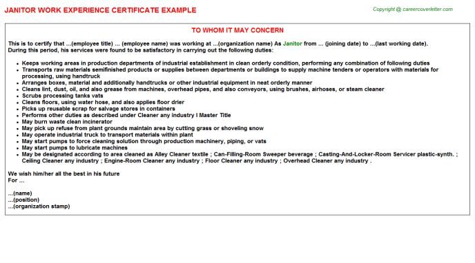 Janitor Work Experience Certificate
