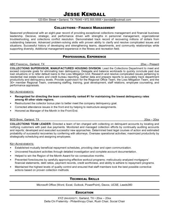 Brilliant and Effective Debt Collector Resume Samples : Vntask.com