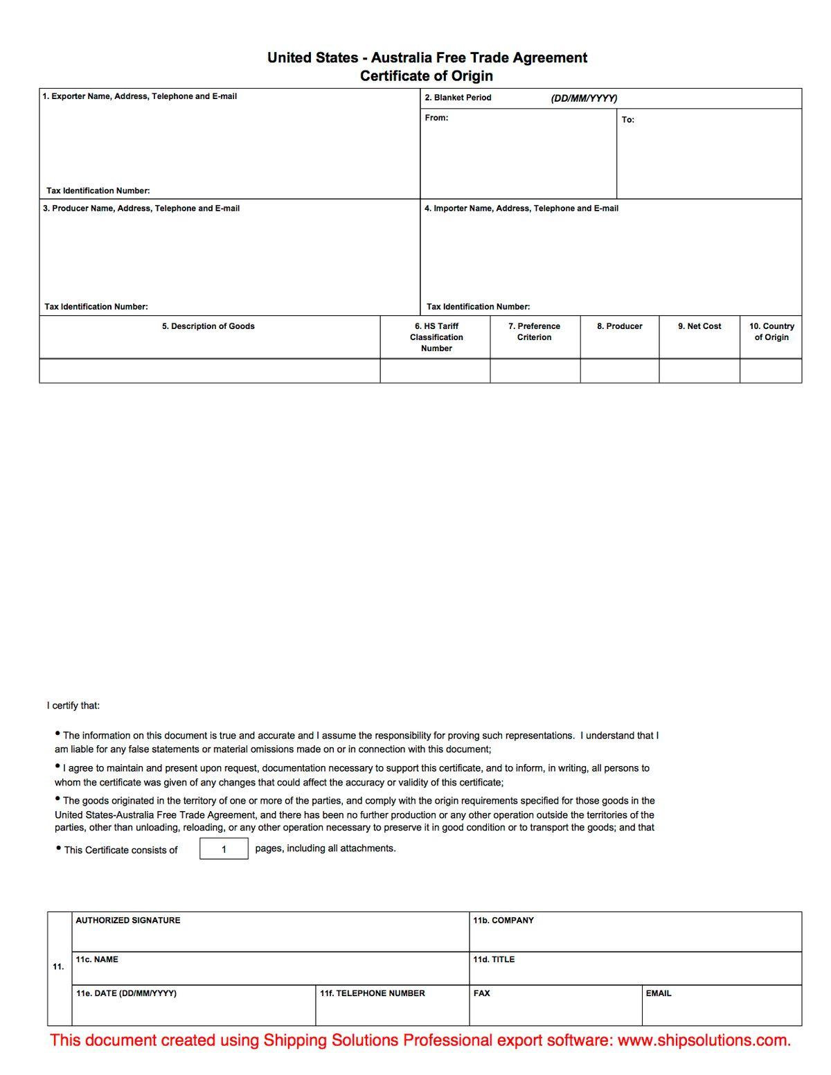 U.S. -Australia Certificate of Origin