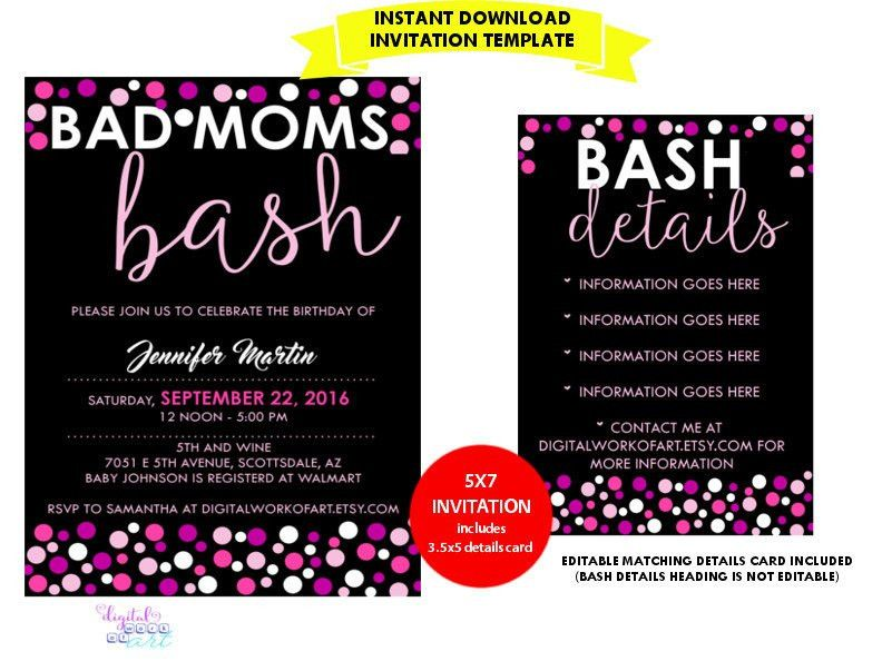 Sweet 16 Birthday Party Invitation Template DIY Editable