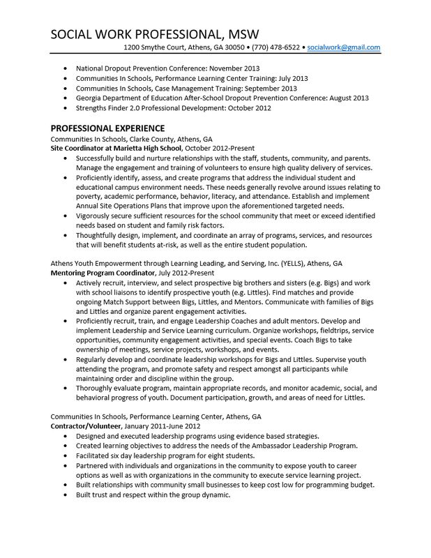 social worker resume example. plush social work resumes 11 social ...