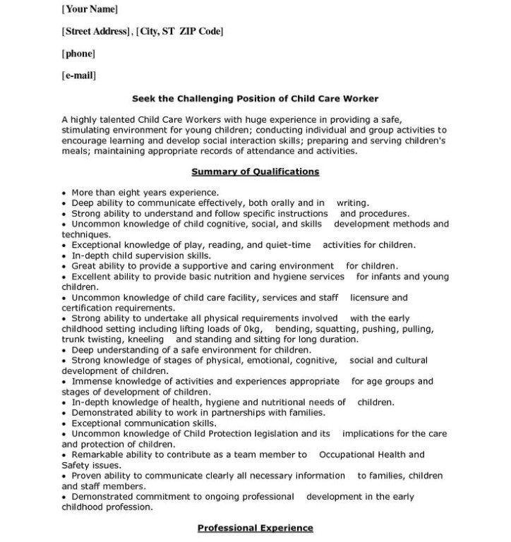Impressive Idea Daycare Resume 16 Resume For Child Care - Resume ...
