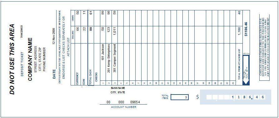 Bank Deposit Slip Template | Print Bank Deposit Slip