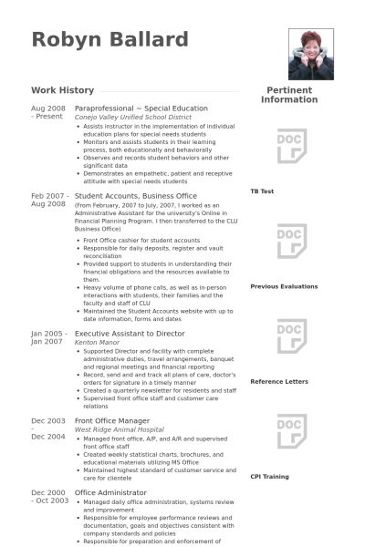 Paraprofessional Resume samples - VisualCV resume samples database