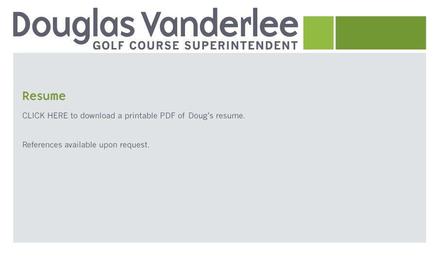 Douglas Vanderlee :: Assistant Golf Course Superintendent