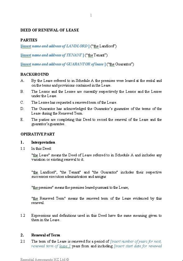 Business – Leasing | New Zealand Legal Documents, agreements ...