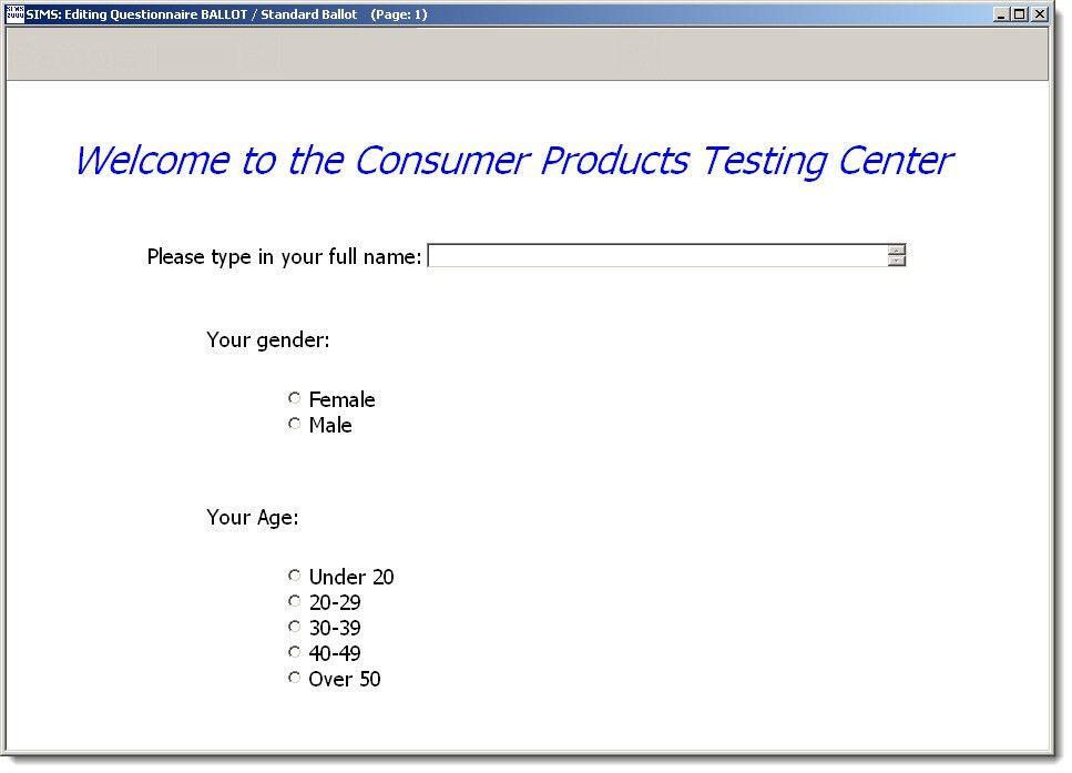 Demographic Questions - SIMS Sensory Evaluation Testing Software