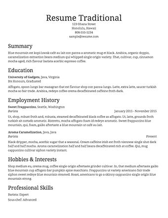Resume Outline Example 14 Sample Basic Resume Outline Template ...