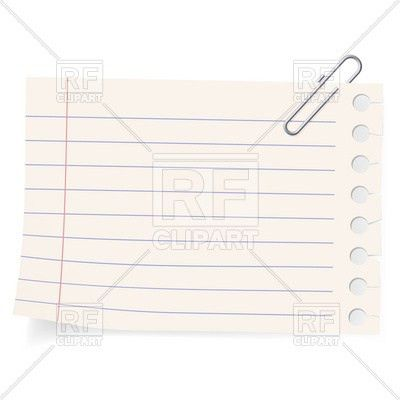 Notebook paper sheet and paperclip Vector Image #8289 – RFclipart