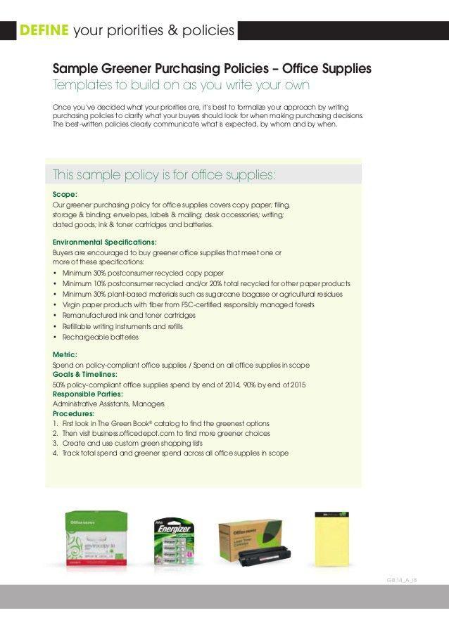 Office Depot Greener Purchasing Program 2014