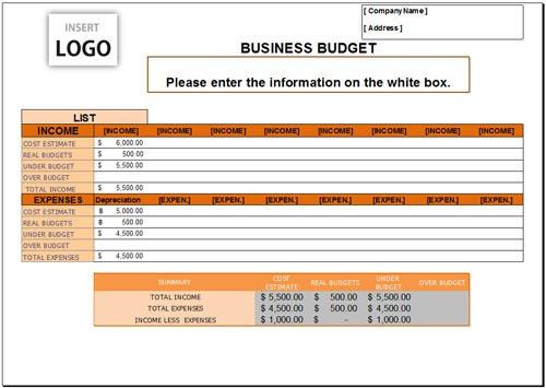 Free Business Budget Template for Excel 2007 - 2016